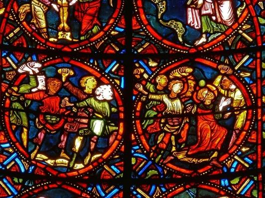 Window depicting St. Stephen being stoned to death