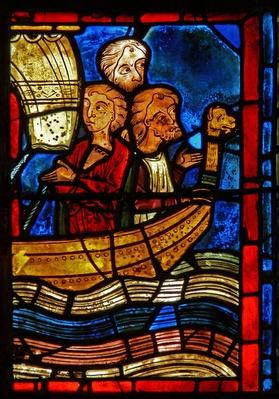 Detail from a window depicting scenes from the life of St. Mary the Egyptian