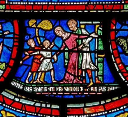 Detail from the Miracle Window depicting Bobby of Rochester's story
