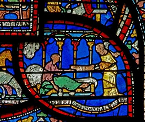 Detail from the Miracle Window depicting Richard Sunieve's story