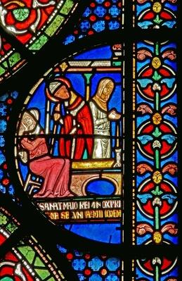 Detail from the Miracle Window depicting the healing of Godbold of Boxley's daughters