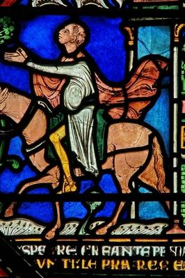 Detail from the Miracle Window depicting a knight riding out of the city cured