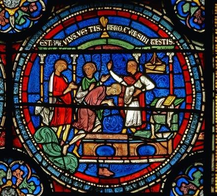 Detail from the Miracle Window depicting Robert of Cricklade