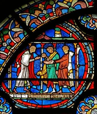 Detail from the Miracle Window depicting pilgrims being healed at St. Thomas's shrine