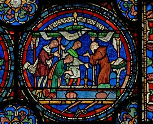 Detail from the Miracle Window depicting Mad Henry of Fordwich giving thanks following his cure