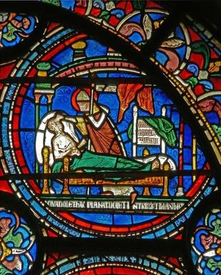 Detail from the Miracle Window depicting St. Thomas visiting a sick man in his sleep