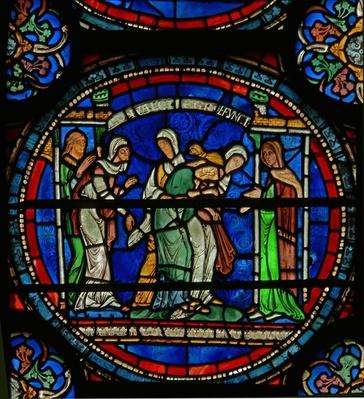 Detail from the Miracle Window depicting Petronilla's epileptic fit