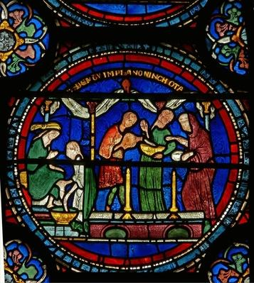Detail from the Miracle Window depicting Petronilla being cured