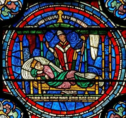 Detail from the Miracle Window depicting King Louis VII being told by Thomas to go to his tomb