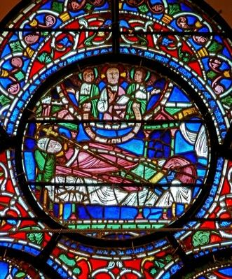 Window depicting St. Dunstan dreaming that he is to spend the day in heaven