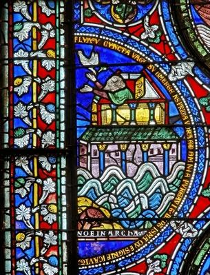 Detail from one of the Bible Windows depicting Noah welcoming the dove back at the ark
