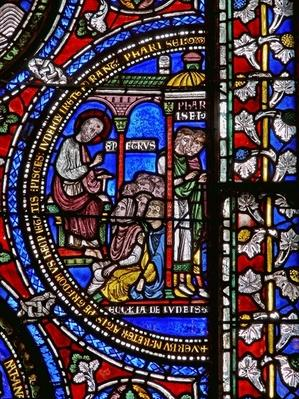 Detail from one of the Bible Windows depicting St. Peter preaching