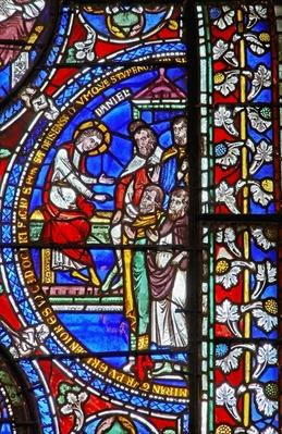 Detail from one of the Bible Windows depicting Daniel and the Elders