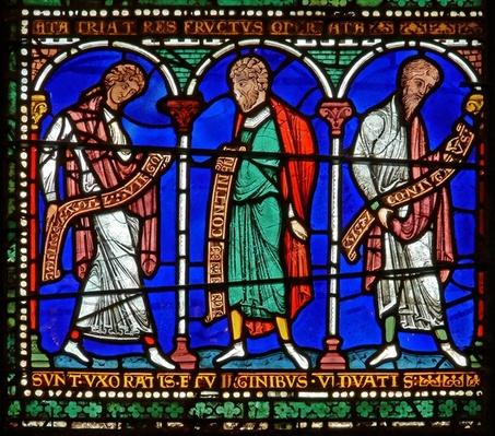 Detail from one of the Bible Windows depicting Virginity, Continence and Marriage