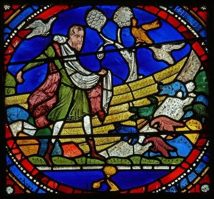 Detail from one of the Bible Windows depicting the parable of the Sower