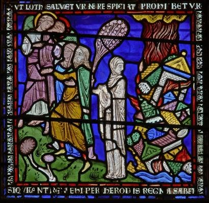 Detail from one of the Bible Windows depicting Lot's wife looking back