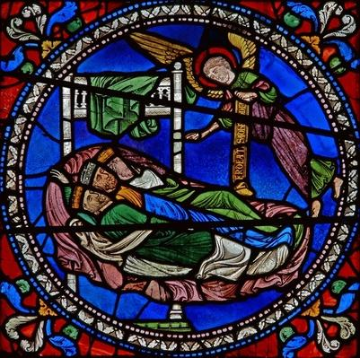 Detail from one of the Bible Windows depicting three Magi kings asleep with an angel