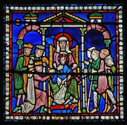 Detail from one of the Bible Windows depicting the adoration of the Magi and the Shepherds