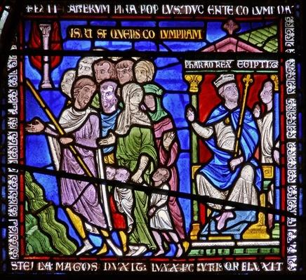 Detail from one of the Bible Windows depicting the pharaoh watching the Israelites
