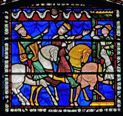 Detail from one of the Bible Windows depicting the Magi on horseback following the star