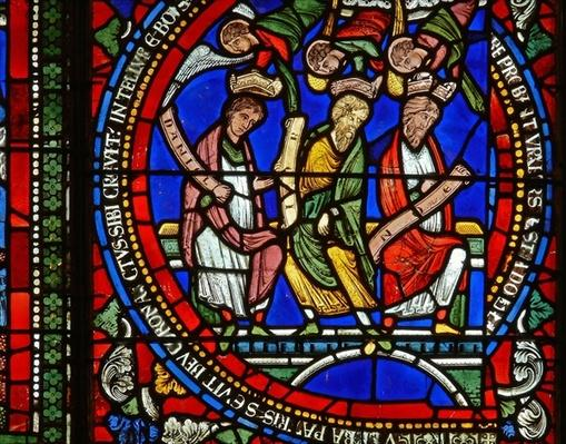 Detail from one of the Bible Windows depicting Daniel, Job and Noah