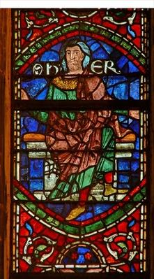 Window depicting a genealogical figure: Er