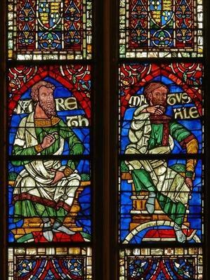 Window depicting a genealogical figure: Jared and Methuselah