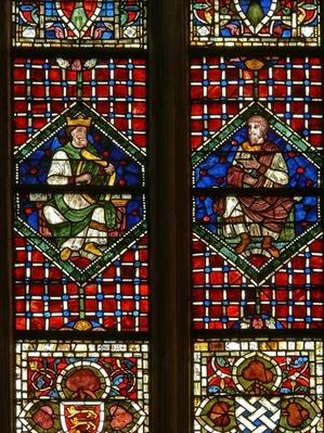 Window depicting a genealogical figure: David and Nathan