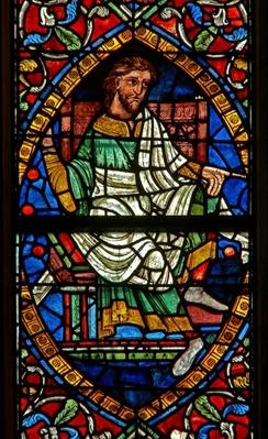 Window depicting a genealogical figure: Boaz