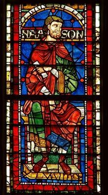 Window depicting a genealogical figure: Naason