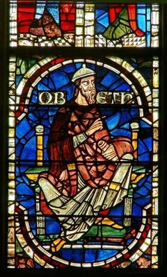 Window depicting a genealogical figure: Obed