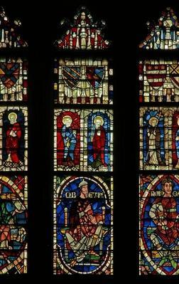 Window depicting genealogical figures including Obed