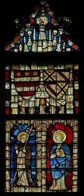 Window depicting two saints and heraldic shields