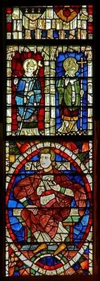 Window depicting a genealogical figure and two saints
