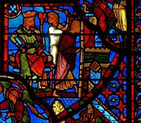 Window depicting a scene from the life of St. Thomas