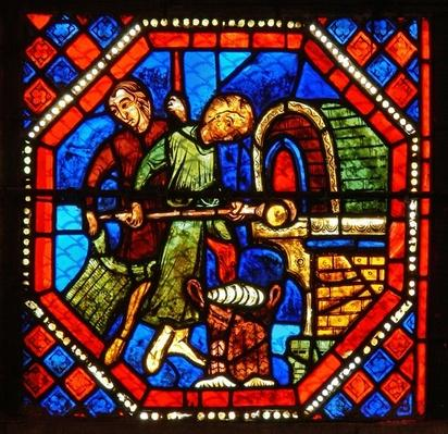 Detail from the St. John window: bakers at work