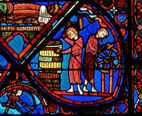 Detail from a window depicting scenes from the story of Joseph