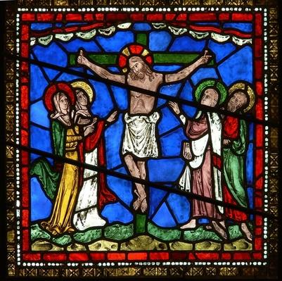 Detail from the east window of the Trinity Chapel depicting the Crucifixion