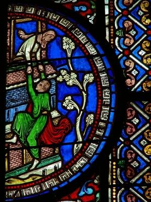 Detail from the east window of the Trinity Chapel depicting David escaping the city