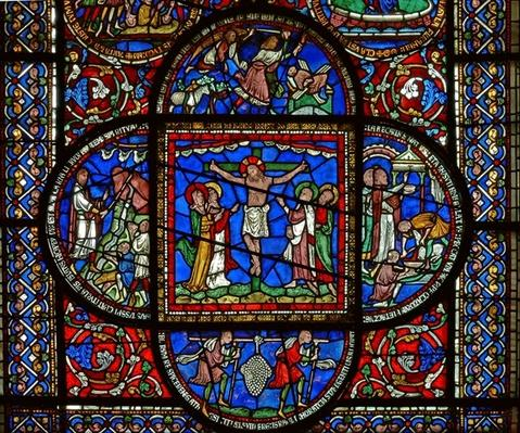 Detail from the east window of the Trinity Chapel depicting the Crucifixion and four surrounding panels