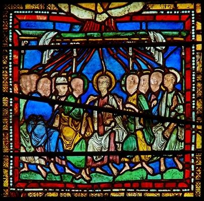 Detail from the east window of the Trinity Chapel depicting Pentecost