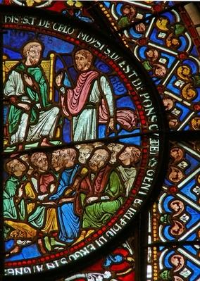 Detail from the east window of the Trinity Chapel depicting Moses and the Israelites
