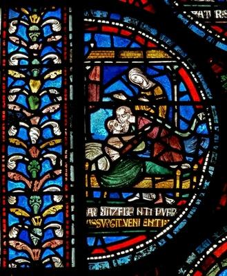 Detail from the Miracle Window depicting John Roxborough and Henry Beche