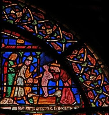 Detail from the Miracle Window depicting the infant Geoffrey of Winchester making an offering at the tomb of St. Thomas