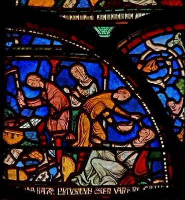 Detail from the Miracle Window depicting Geoffrey of Winchester's mother praying to St.Thomas
