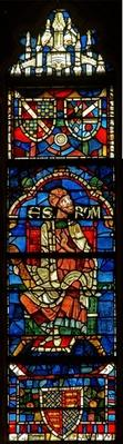 Window depicting a genealogical figure: Escrom