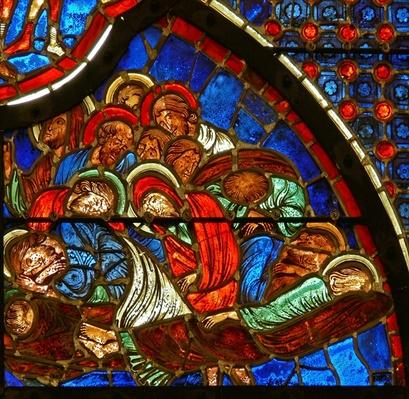 Window depicting the disciples asleep in Gethsemane