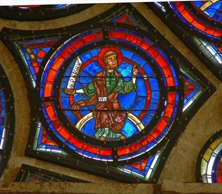 Detail from the east rose window: St. Peter