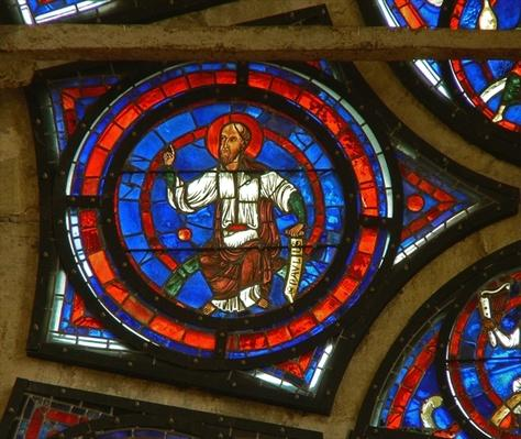 Detail from the east rose window: St. Paul