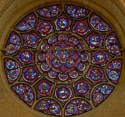 The east rose window: The Virgin, Apostles and Elders of the Apocalypse